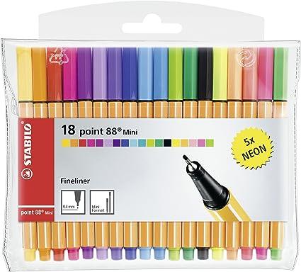 Rotulador puntafina STABILO point 88 mini - Estuche con 18 colores: Amazon.es: Oficina y papelería