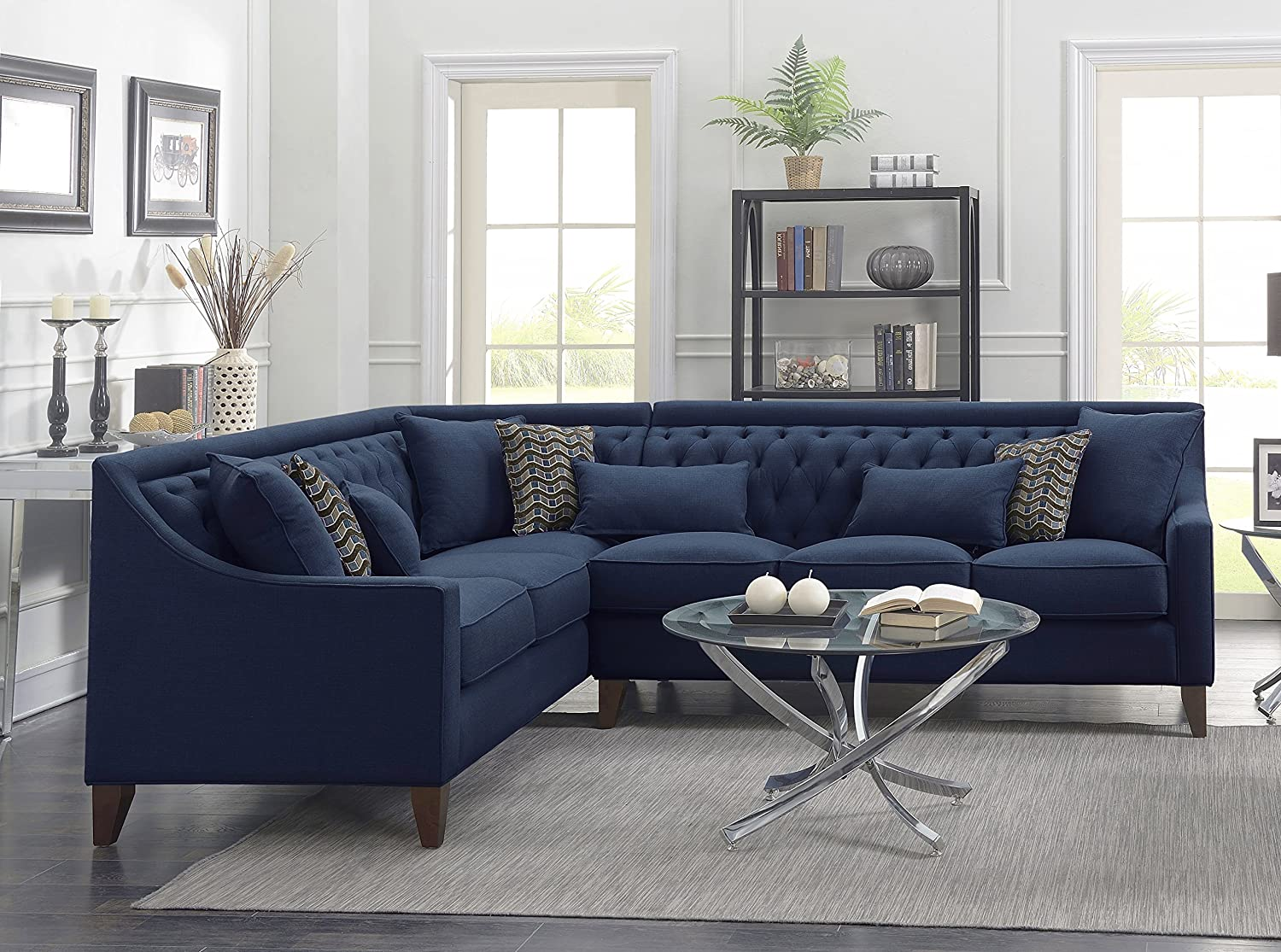 Iconic Home Aberdeen Linen Tufted Down Mix Modern Contemporary Left Facing Sectional Sofa, Navy