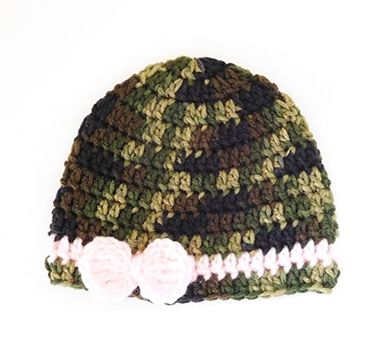 Amazon Crochet Baby Hat Camo Colors With Pink Bow Handmade