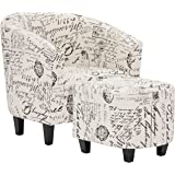 Best Choice Products Modern Contemporary Upholstered Barrel Accent Chair w/ Ottoman - White French Print
