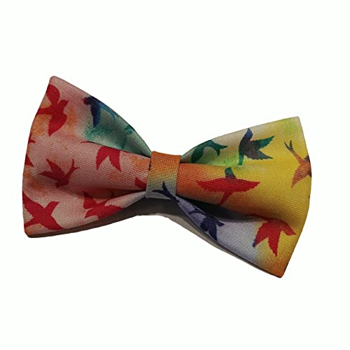 e07948b601b6 Amazon.com: Rainbow Birds Bow Tie - Clip on Bowtie: Handmade