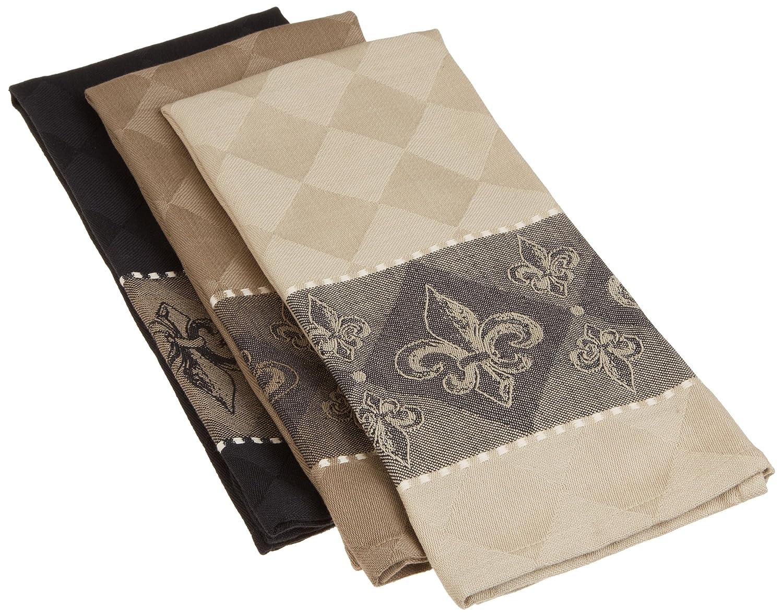 "DII Cotton Jacquard Dish, Decorative Tea Towels for Everyday Kitchen Cooking and Baking, 20x28"" Fleur De Lis"