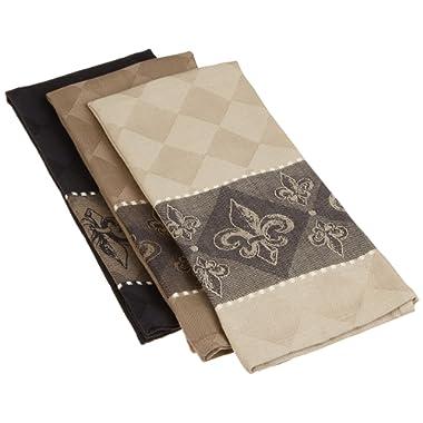 DII Cotton Jacquard Dish, Decorative Tea Towels for Everyday Kitchen Cooking and Baking, 20x28, Fleur De Lis