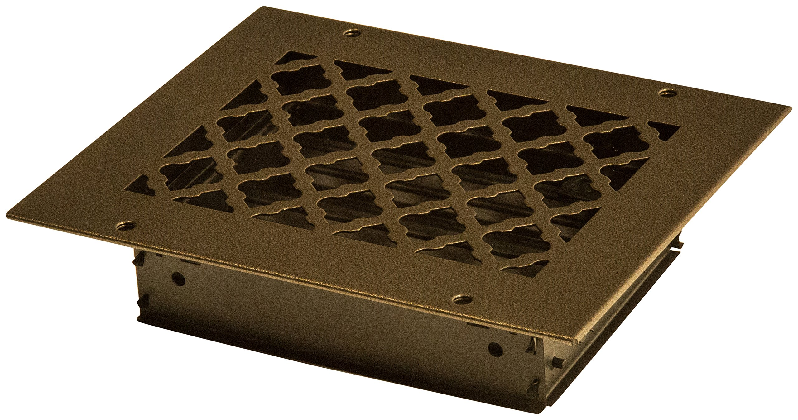 SteelCrest BTU8X6SORBH Bronze Series Designer Wall/Ceiling Vent Cover, with Air-Volume Damper, and Mounting Screws, Oil Rubbed Bronze