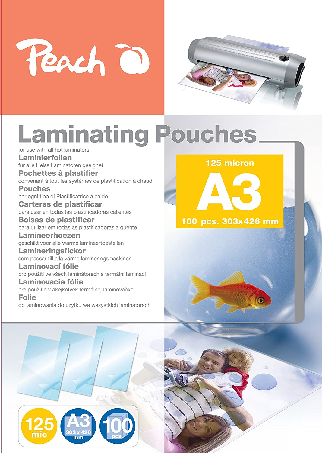 Amazon.com : Peach PP525-01 A3 Laminating Pouches : Office ...