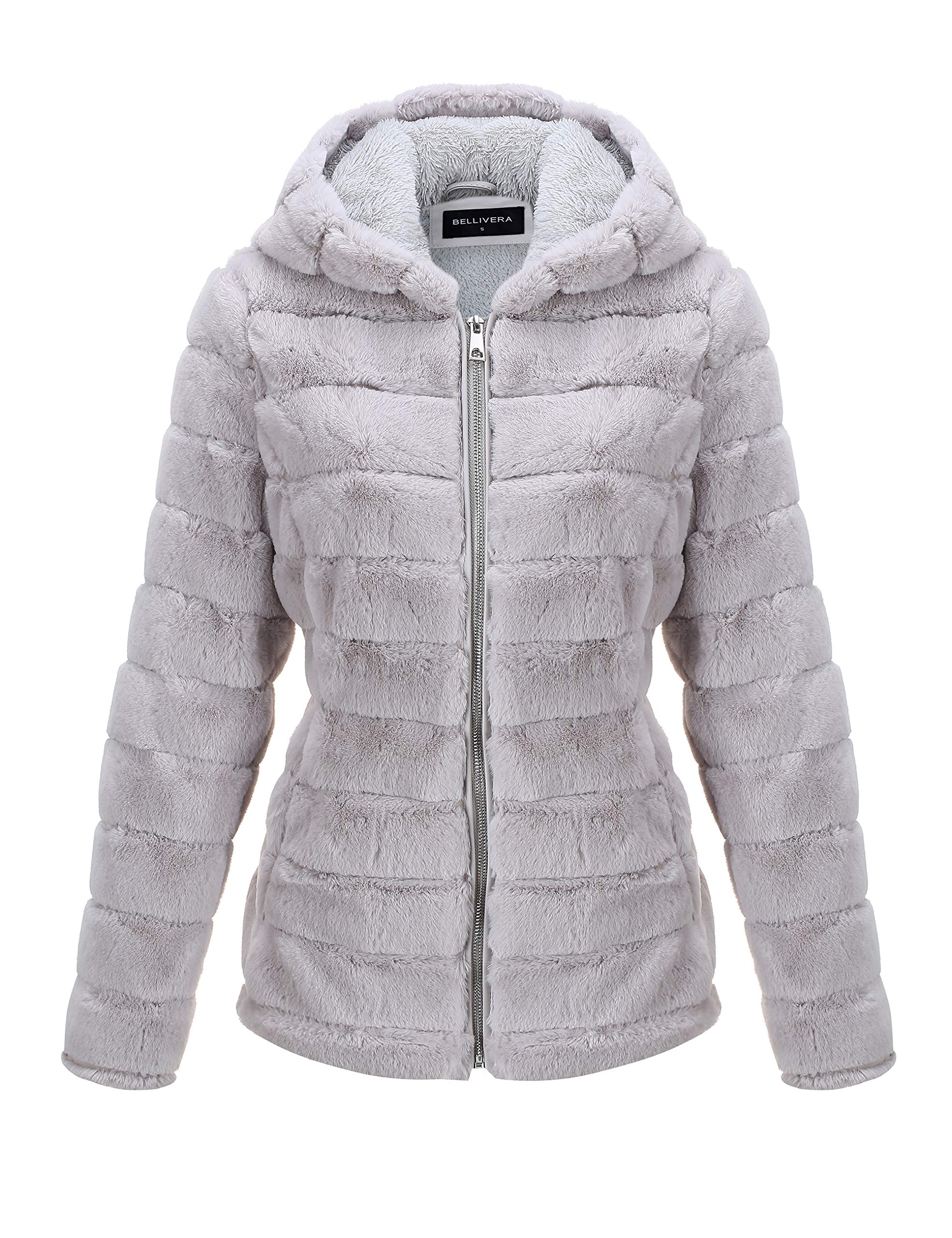 Bellivera Women's Faux Fur Jacket for Winter,Faux Rabbit Hair Shaggy Oversized Coat with 2 Side-Seam Pockets and Hood