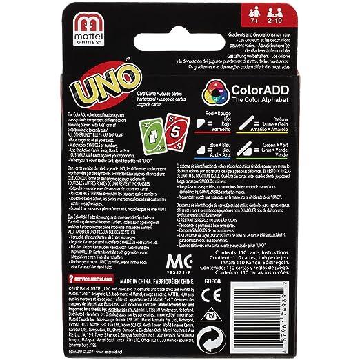 Mattel Games Juego de cartas UNO ColorADD (Mattel GDP08)