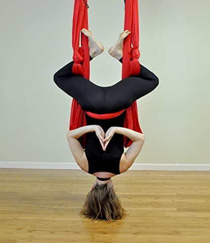 Deluxe Aerial Yoga Hammock (Yoga Swing or Sling, Aerial Yoga, Aerial Fitness) (Red)
