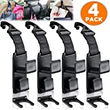 SANDY ROAD Car Seat Headrest Hooks for Handbag, Purse or Grocery bags, Front and Back Seat Hook Organizer and Car Space Saver Holder Hanger, Easy to install Car headrest hook [4-PACK]