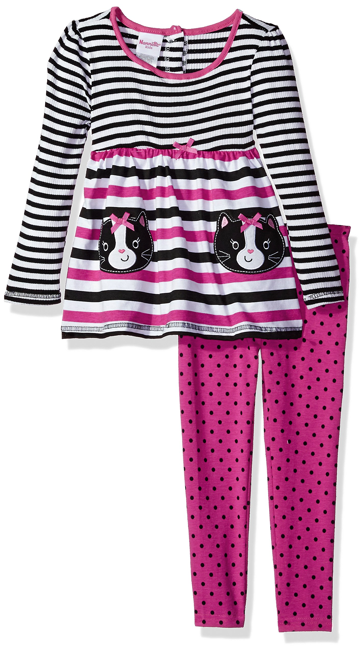 Nannette Little Girls 2 Piece Playwear Long Sleeve Top and Legging Set, Bright Pink/Black, 6