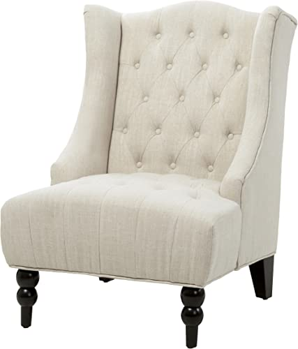 Classic High Back Button Tufted Light Beige Linen Upholstered Accent Club Wingback Chair