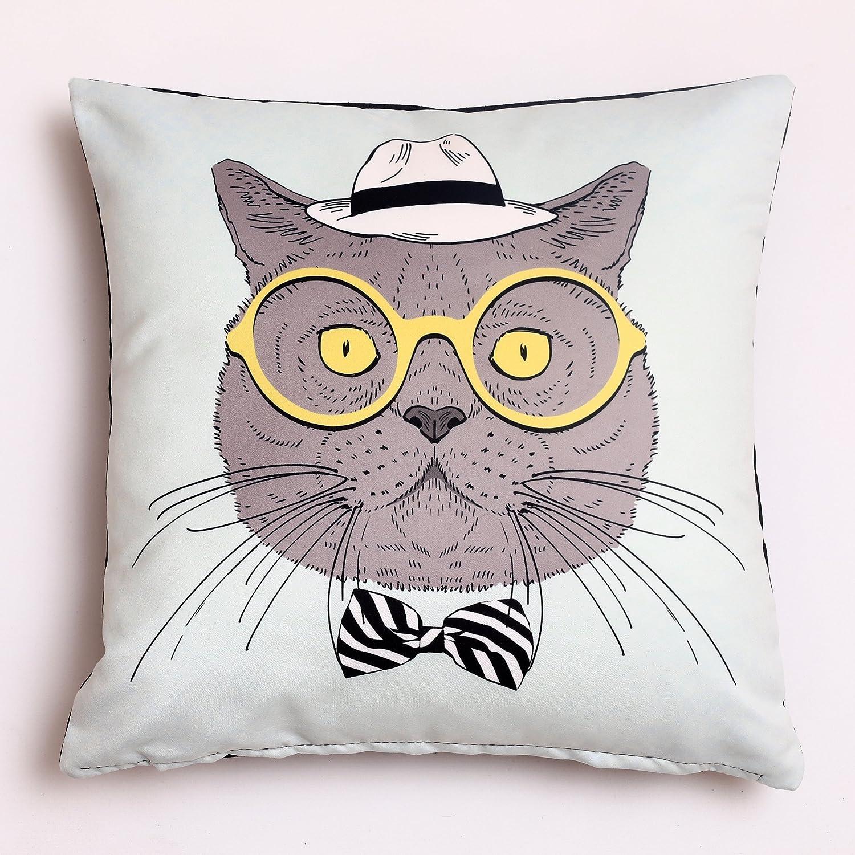 オイラーフクロウ動物スロー枕カバークッションカバーホーム装飾ソリッド正方形快適なコットン枕カバー、ハンドメイドのファスナーのソファー/ソファ/ベッド/椅子/車18 x 18インチ(45 x 45 cm) 18 x 18 inch B07D2583FT Cat With Glasses Cat With Glasses