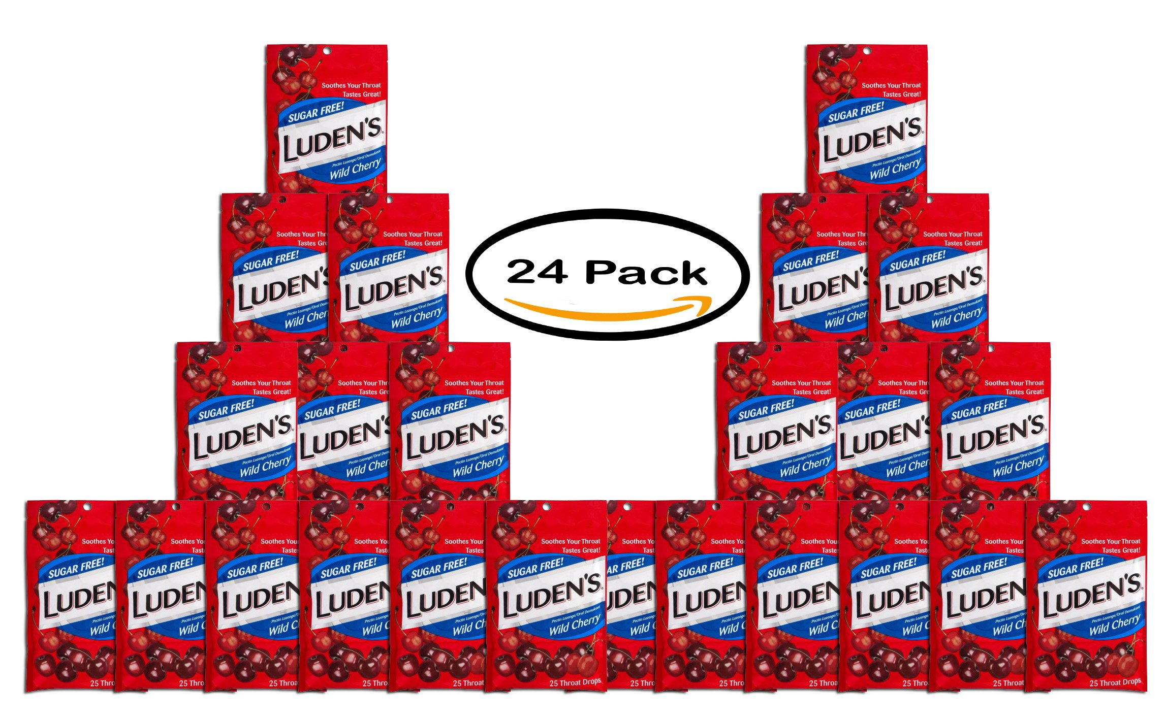 PACK OF 24 - Luden's Throat Drops Wild Cherry Sugar Free - 25 CT