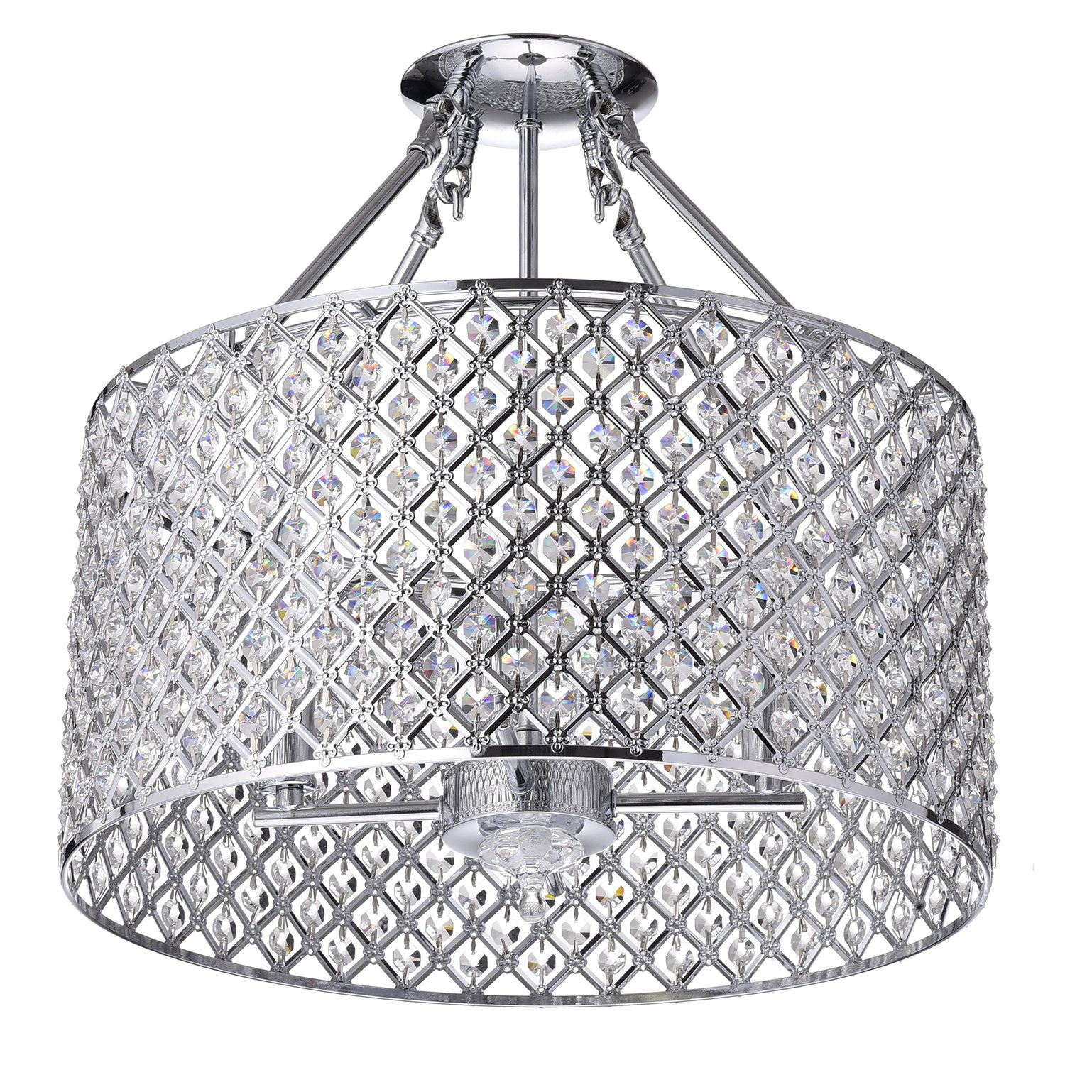 Marya 4 light chrome round shade crystal semi flush mount chandelier marya 4 light chrome round shade crystal semi flush mount chandelier ceiling fixture beaded drum shade amazon aloadofball Images