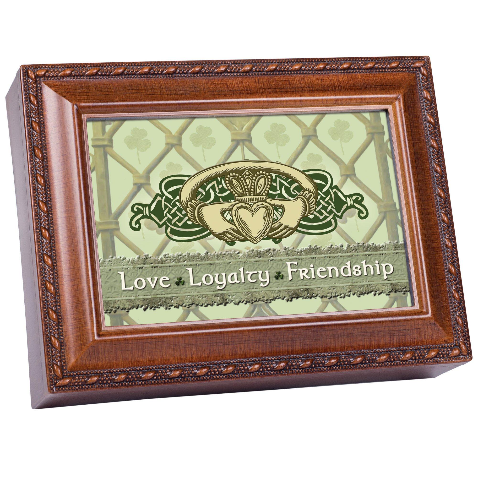 Cottage Garden Love Loyalty Woodgrain Music Box/Jewelry Box Plays Irish Lullaby