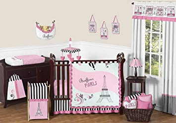 sweet jojo designs 11piece pink black and white stripe paris baby girl bedding
