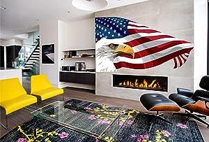 American Flag Full Color Decal, US Flag Color Sticker, Bald Eagle Color Decal, Eagle Decor Color Sticker, American Flag Color Wall Art, vmc 068 (50x80)