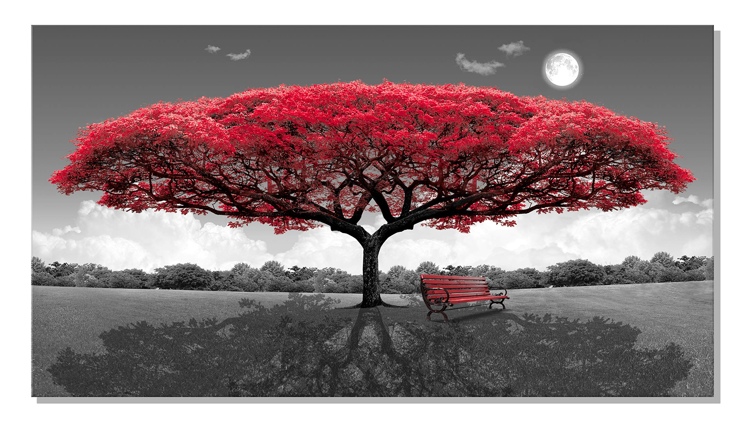 XOTOArt – Large Canvas Art Red Tree Bench 24'' x 40'' Contemporary Paint Nature Framed Artwork Wall Decor for Bedroom Living Room Home Salon Decoration