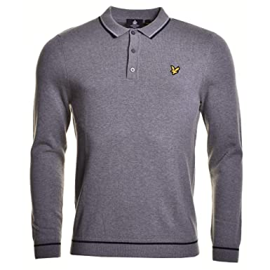 Lyle & Scott Punto de Manga Larga Polo Mid Gris Marl Marl: Amazon ...