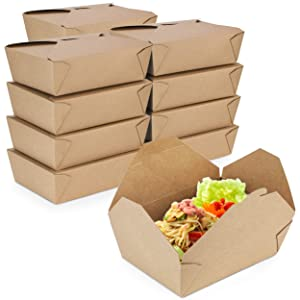 [50 Pack] 76 oz Paper Take Out Containers 8.6 x 6.3 x 2.5