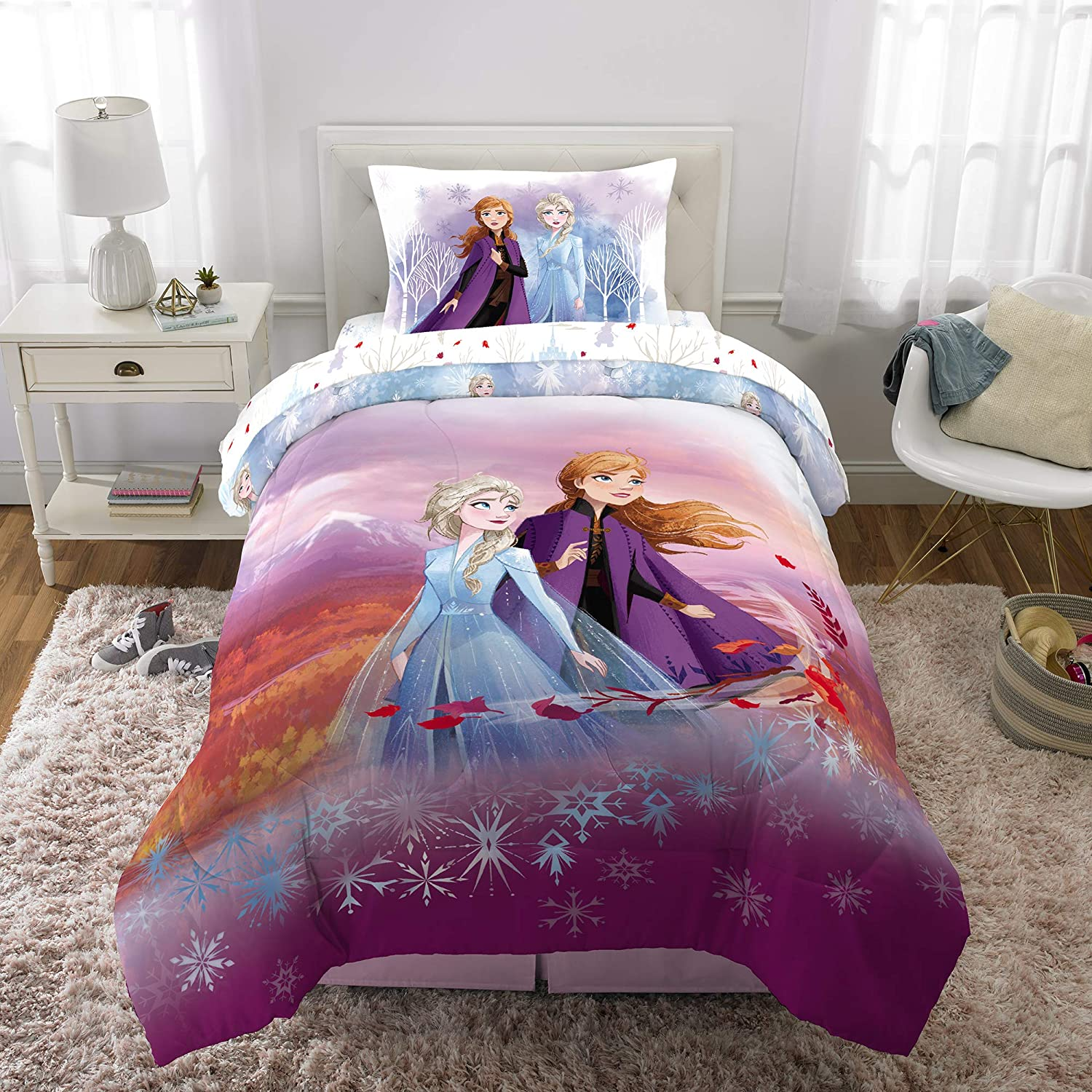 Twin Comforter Set with Sheets 4 Pcs. Spirit of Nature Frozen Girls' Bedding Set