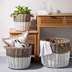 Glitzhome Round Wicker Laundry Baskets with Handles Set of 3 Willow Hampers for Laundry Storage Extra-Large Size Woven Baskets for Toys Towels Clothing Organization
