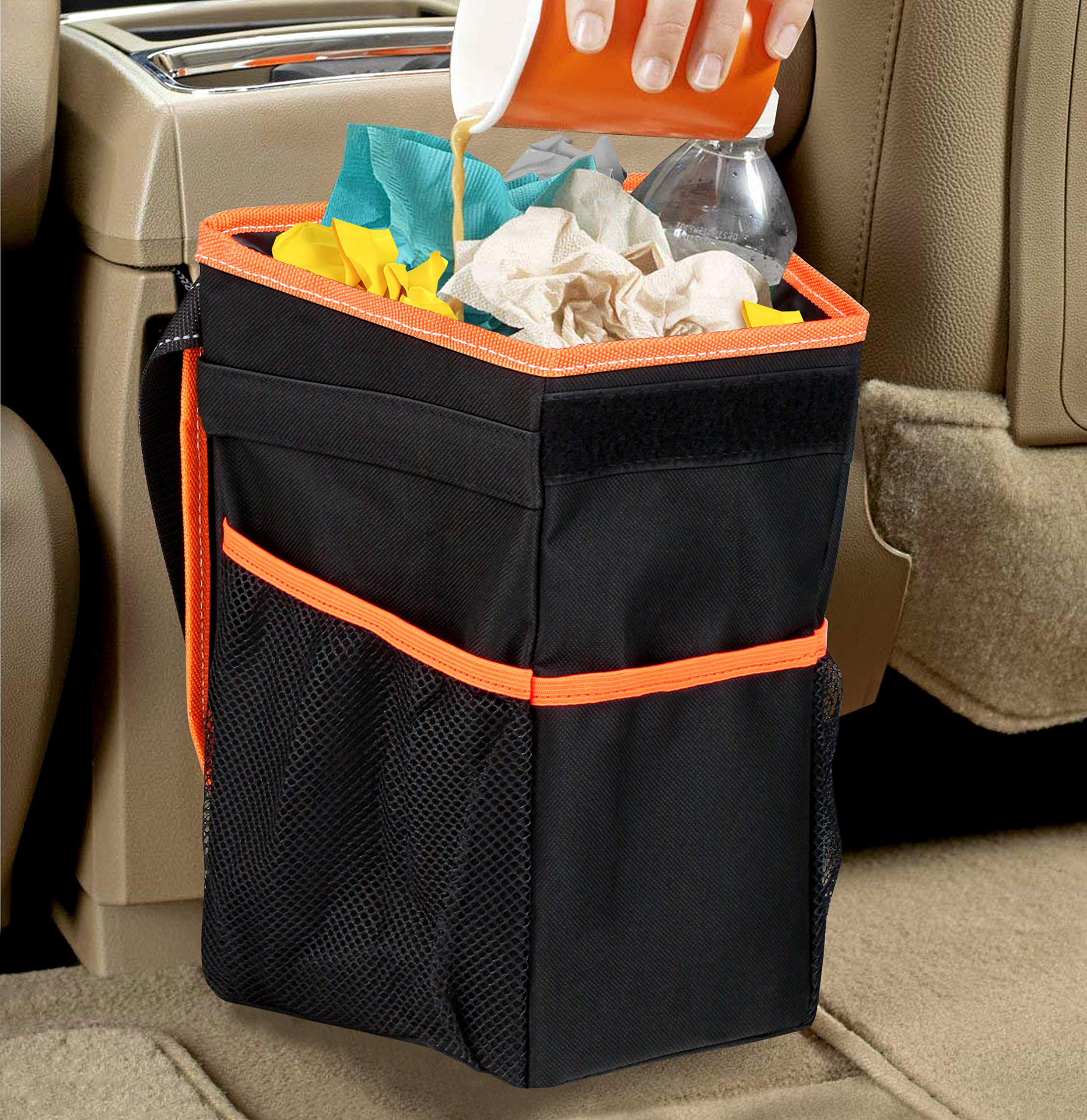 APPUCOCO Car and Motorbike Trash Bin Organizer with Lid and Storage Pockets - Black product image