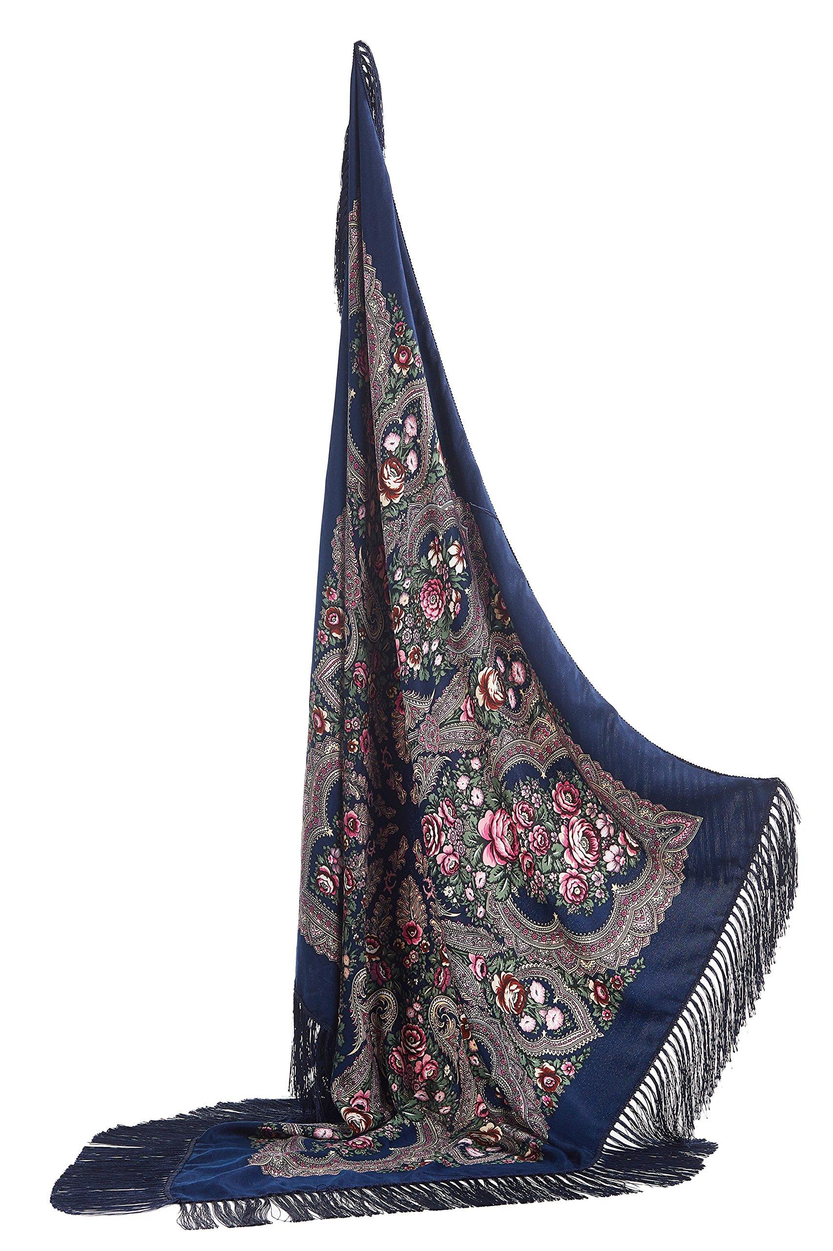 Ladies Floral Shawl With Tassels Ukrainian Polish Russian Style Shawls For Women (Dark Sea Blue)