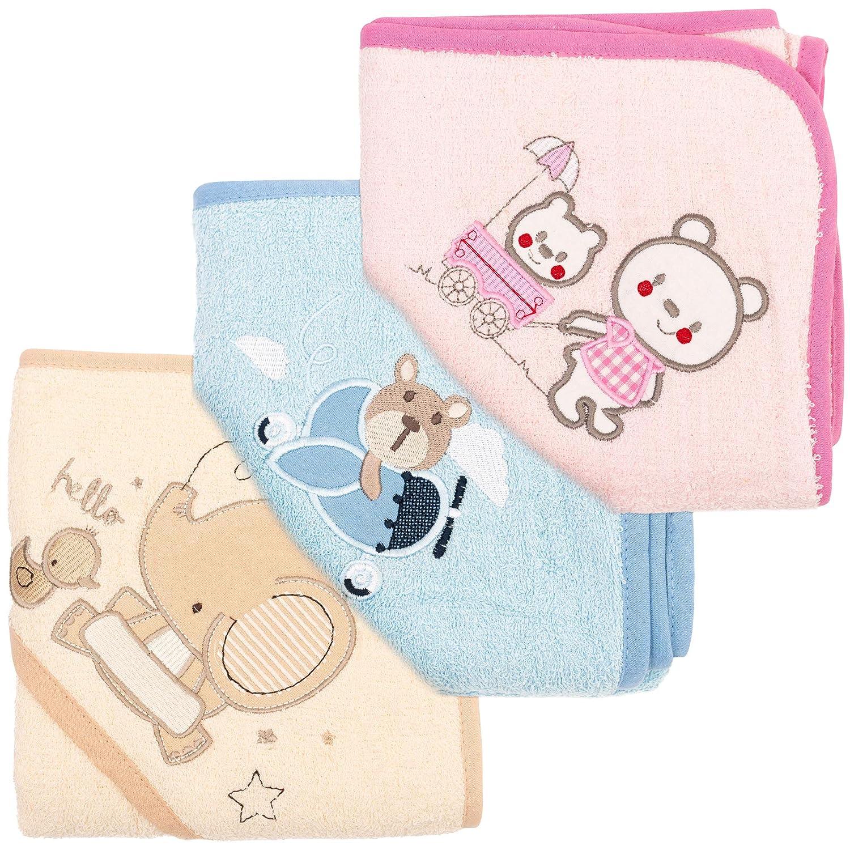 Babyhandtuch mit Kapuze 3er Handtuch Cotton Babybadetuch 100/% Baumwolle 3er Set Baby Kapuzenhandtuch - Frottee