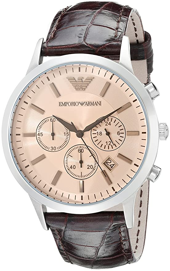 Amazon.com: Emporio Armani Mens AR2473 Dress Blue Leather Watch: Emporio Armani: Watches