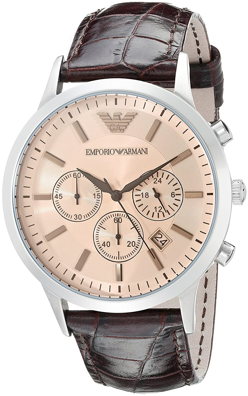 14ebff53 Emporio Armani Men's AR2433 Dress Brown Leather Watch