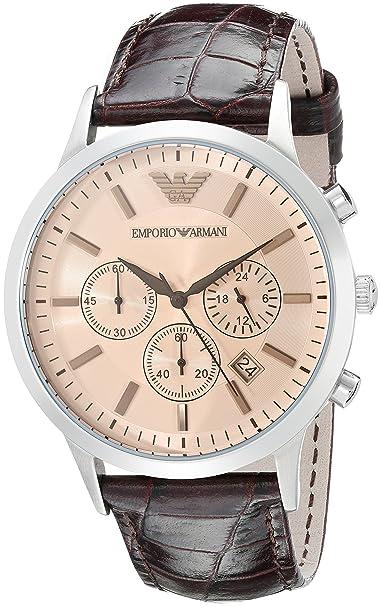 3f251832ee7f Emporio Armani Reloj Cronógrafo para Hombre de Cuarzo con Correa en Cuero  AR2433  Emporio Armani  Amazon.es  Relojes