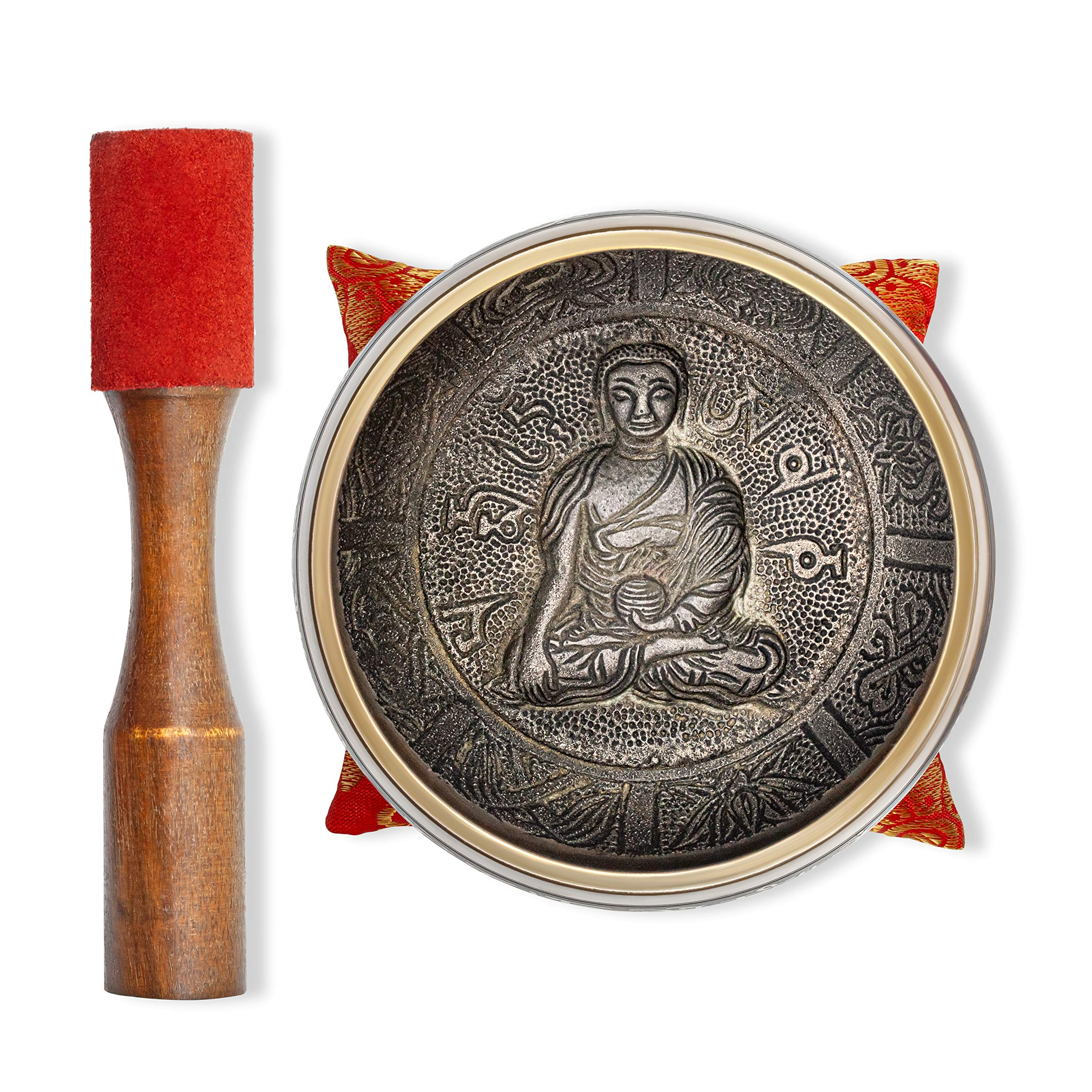 """Tibetan Singing Bowl – Hand Crafted Chakra Singing Bowl Set with Mallet & Cushion – Brass 4"""" Sound Therapy Bowl for Meditation, Yoga & Gift – Mantra Antique Prayer Bowl with Deep Sound by Bim–Bam–Bom"""