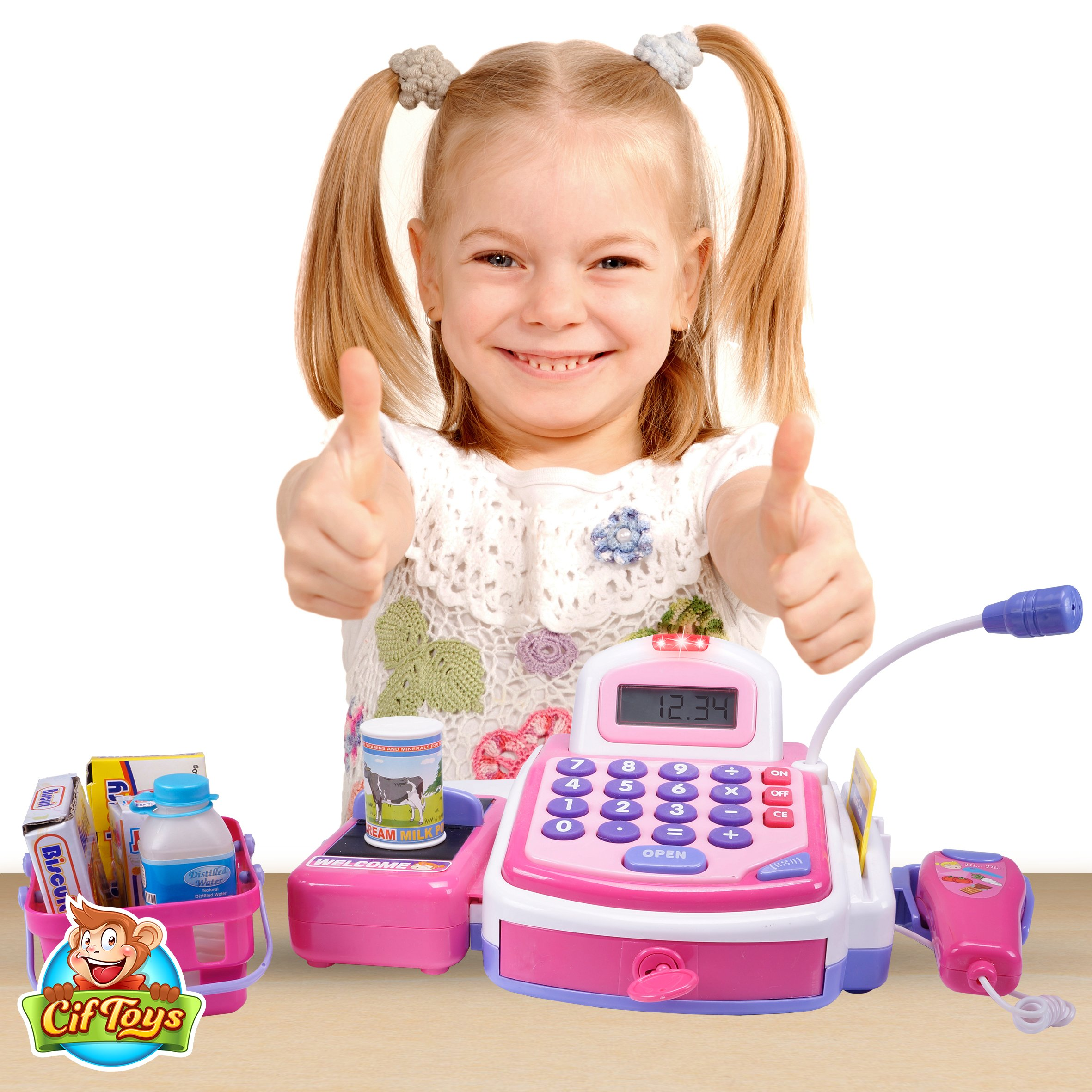 CifToys Cashier Toy Cash Register Playset | Pretend Play Set for Kids | Colorful Children's Supermarket Checkout Toy with Microphone & Sounds | Ideal Gift for Toddlers & Pre-Schoolers by CifToys (Image #2)