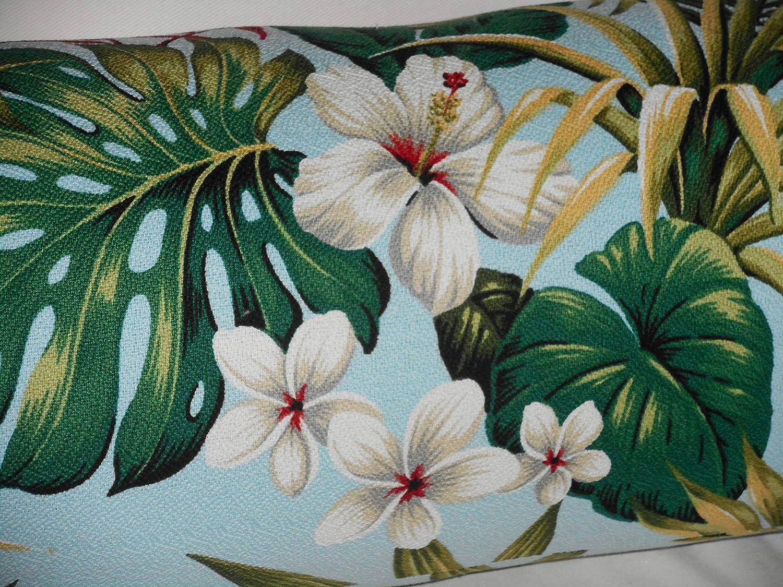Hawaiian Cotton Barkcloth Fabric CORDED BOLSTER PILLOW ~Hibiscus Garden-Coral~