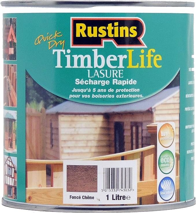 Rustins – Barniz para madera – Exterior – UV y 5 años Protección – Roble oscuro – 12 m2/L – 1 litro (TLDO1000FR)