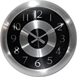 Infinity Instruments Mercury Black Silent Sweep 10 Inch Aluminum Wall Clock
