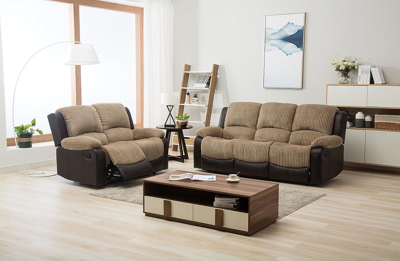 New Marsha Fabric Reclining Sofa Set Brown And Beige 3 2 Recliner