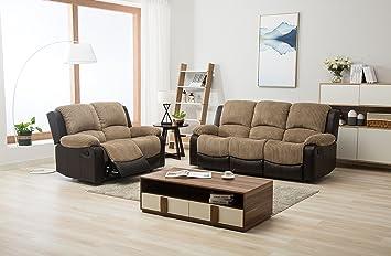 The Sofa And Bed Factory New Marsha Fabric Reclining Sofa Set Brown U0026 Beige  3 +