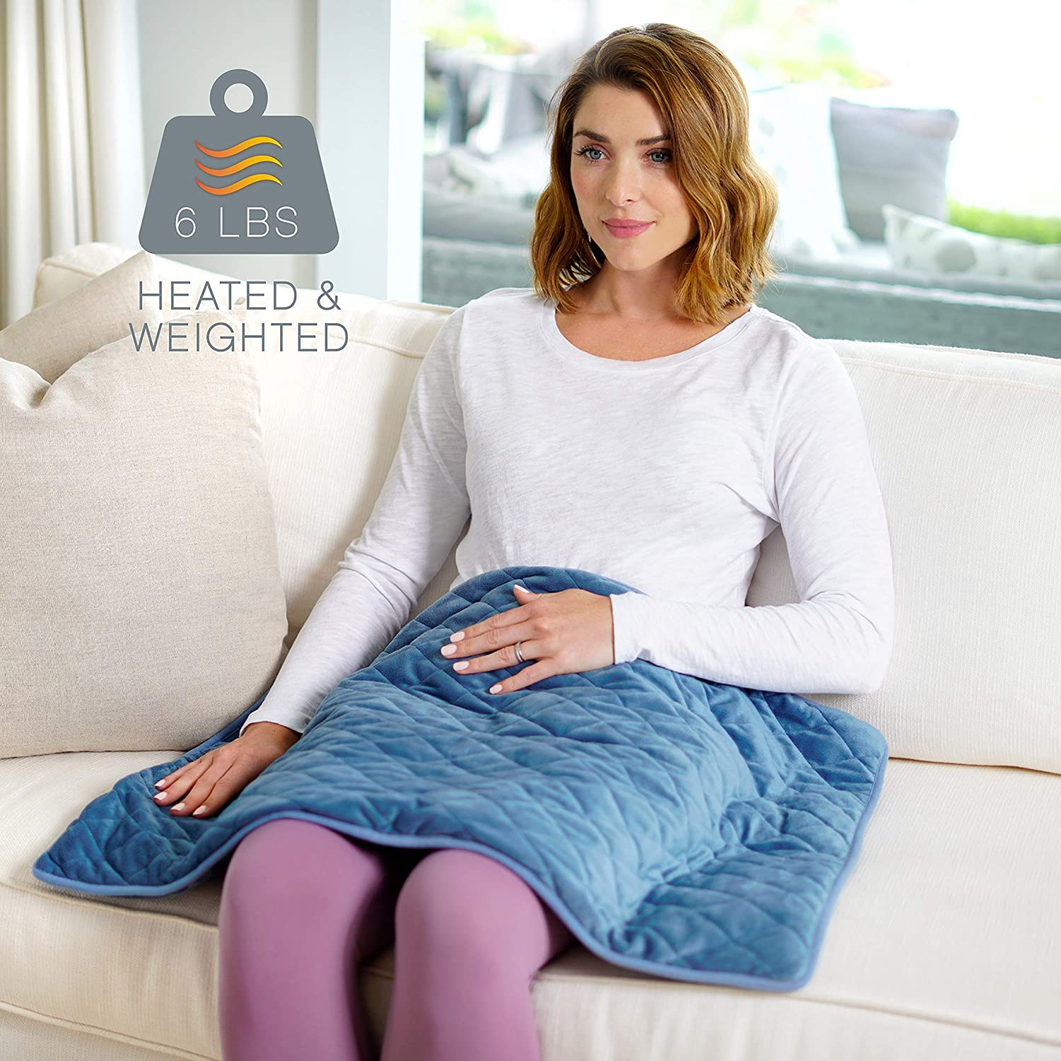 "Pure Enrichment® WeightedWarmth™ - 2-in-1 Weighted Body Pad & Heat (32"" x 21"") 6 lbs, 3 Heat Settings, BPA-Free Non-Toxic Beads, and Soft Micromink — Ideal for Back and Shoulder Pain & Cramps"