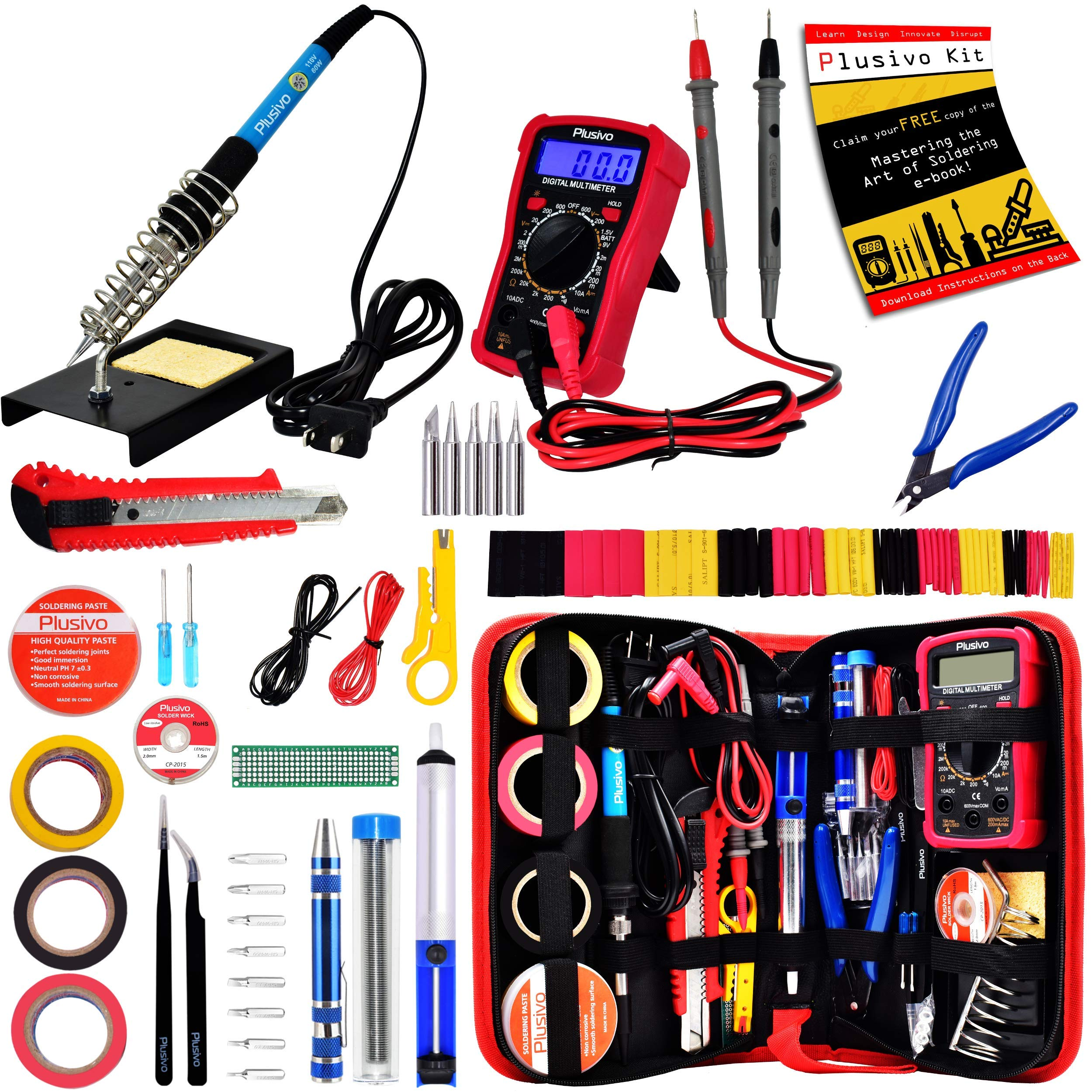 Soldering Iron Kit - Soldering Iron 60 W Adjustable Temperature, Digital Multimeter, Wire Cutter, Stand,Soldering Iron Tip Set, Desoldering Pump, Solder Wick, Tweezers, Rosin, Wire - [110 V, US Plug] by Plusivo