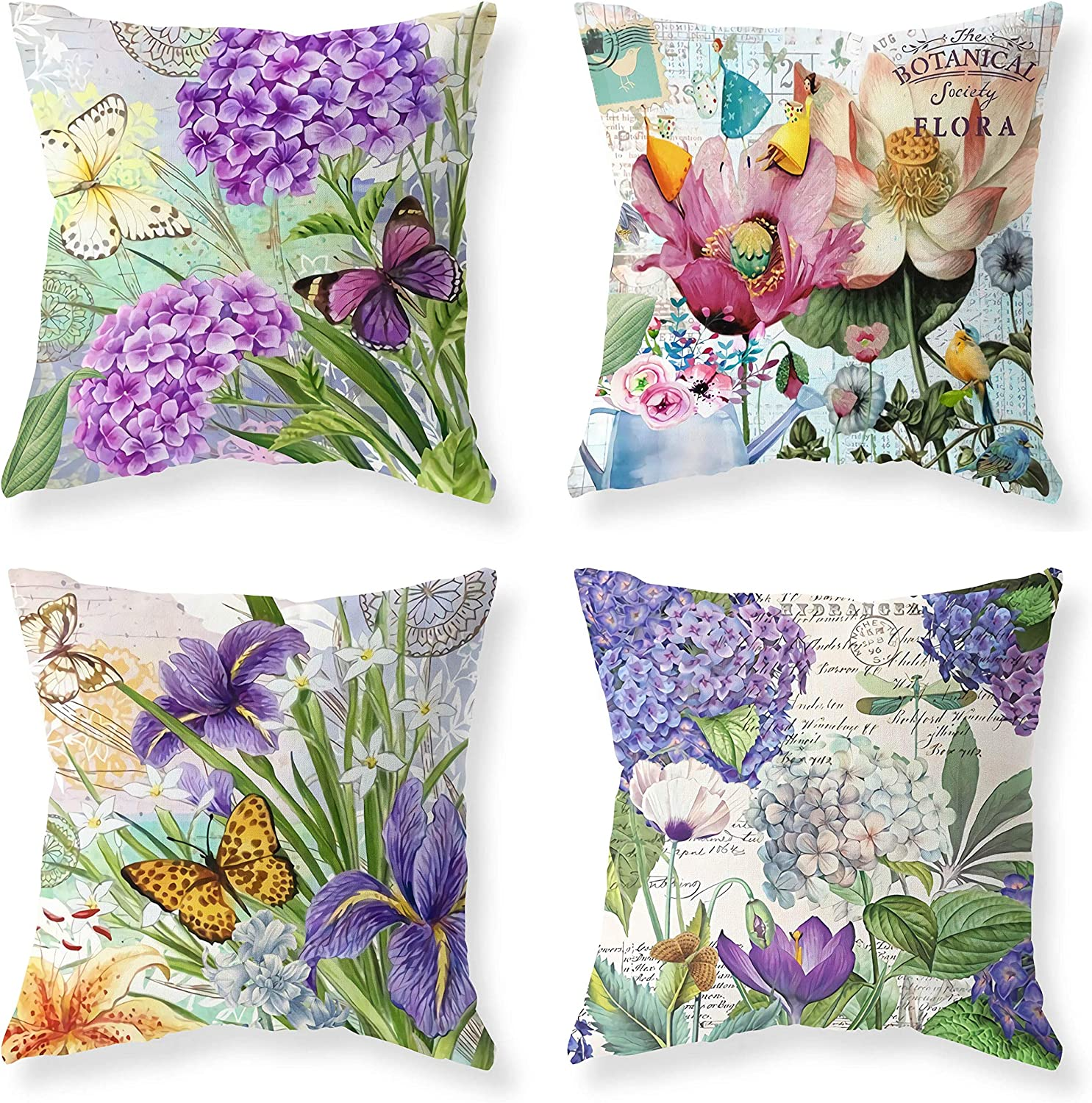 Purple Blue Flowers Butterfly & Dragonfiy Green Leaves Jungle Throw Pillow Farmhouse Outdoor Throw Pillow Cover Happy Summer Time Cotton Linen Pillow Case Home Cover for Sofa 18 x 18 Set of 4