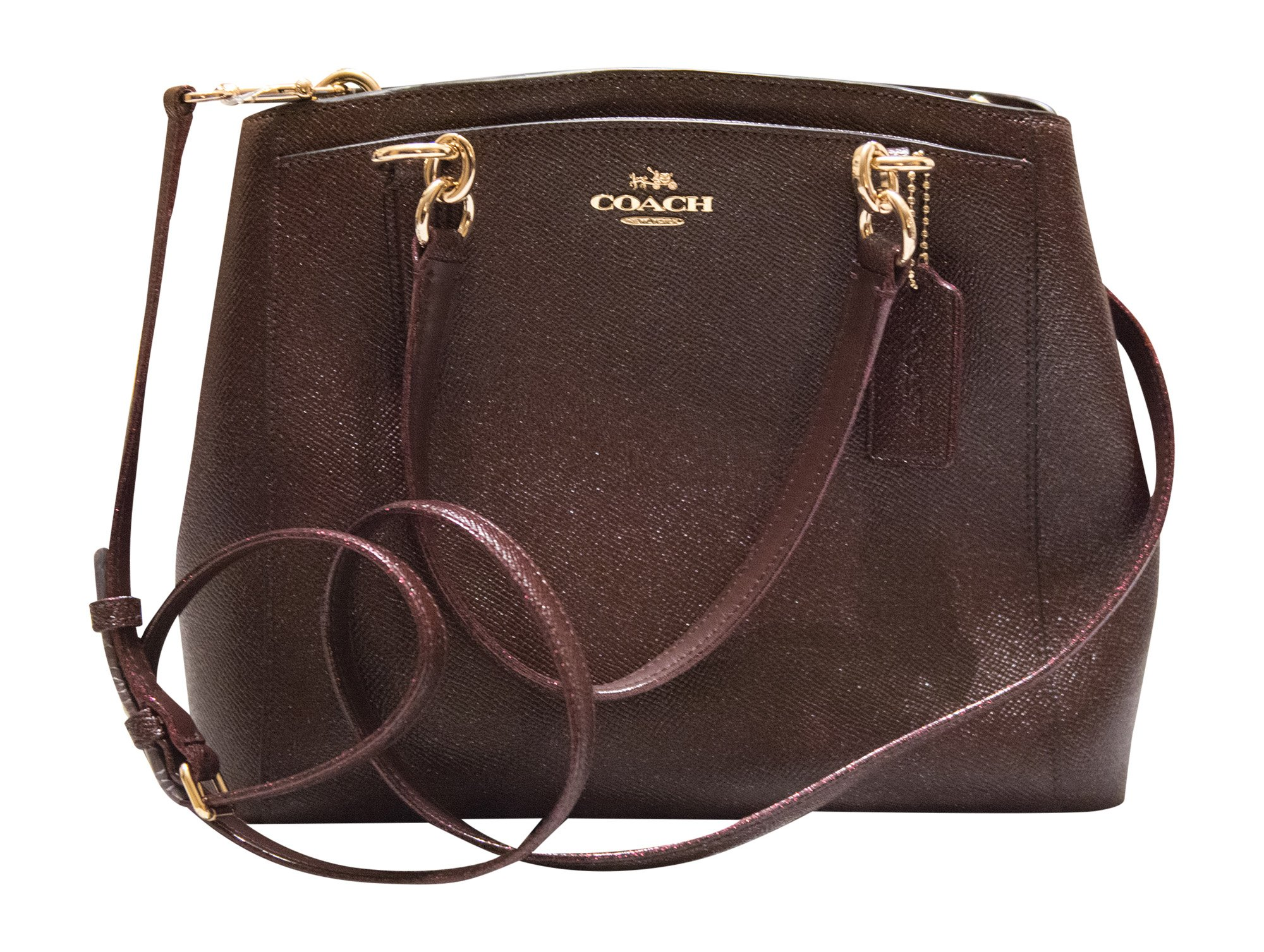 Coach Crossgrain Glitter Leather Minetta Crossbody Handbag, Oxblood 1
