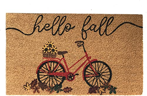 Elrene Home Fashions Farmhouse Living Hello Fall Bike with Autumn Leaves Coir Doormat for Entryway Front Door Porch, 18 x30 Mat