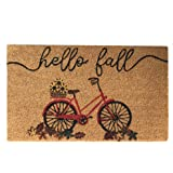 """Elrene Home Fashions Farmhouse Living Hello Fall Bike with Autumn Leaves Coir Doormat for Entryway/Front Door/Porch, 18""""x30"""""""