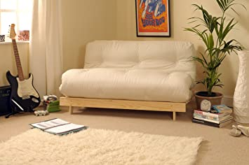 4ft luxury small double  120cm  wooden futon set with premium luxury cream mattress 4ft luxury small double  120cm  wooden futon set with premium      rh   amazon co uk