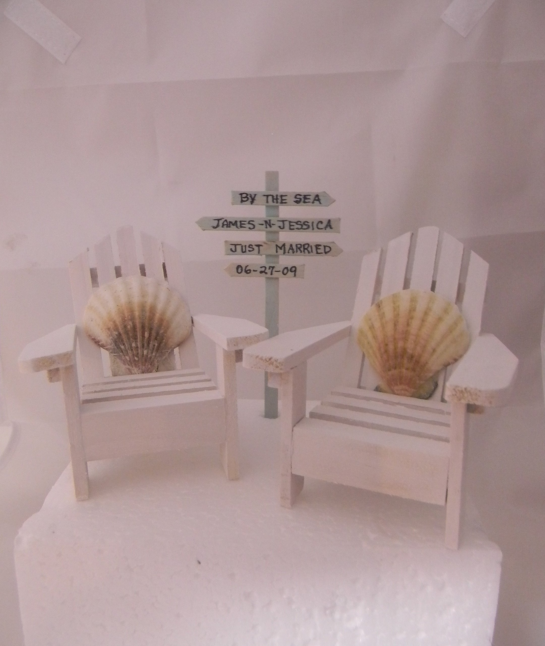 Wedding Reception Adirondack Chairs Beach Real Seahell Cake Topper Sign by Design by Suzanne (Image #1)