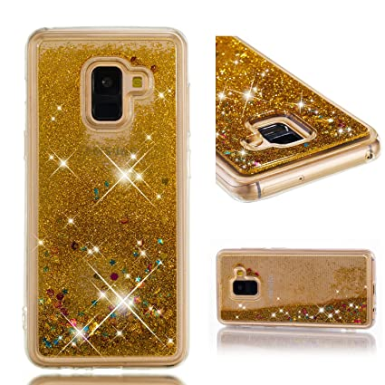 HopMore Glitter Funda para Samsung Galaxy A8 2018 Silicona 3D Liquido Brillante Purpurina Motivo Transparente TPU Carcasa Samsung A8 2018 Resistente ...