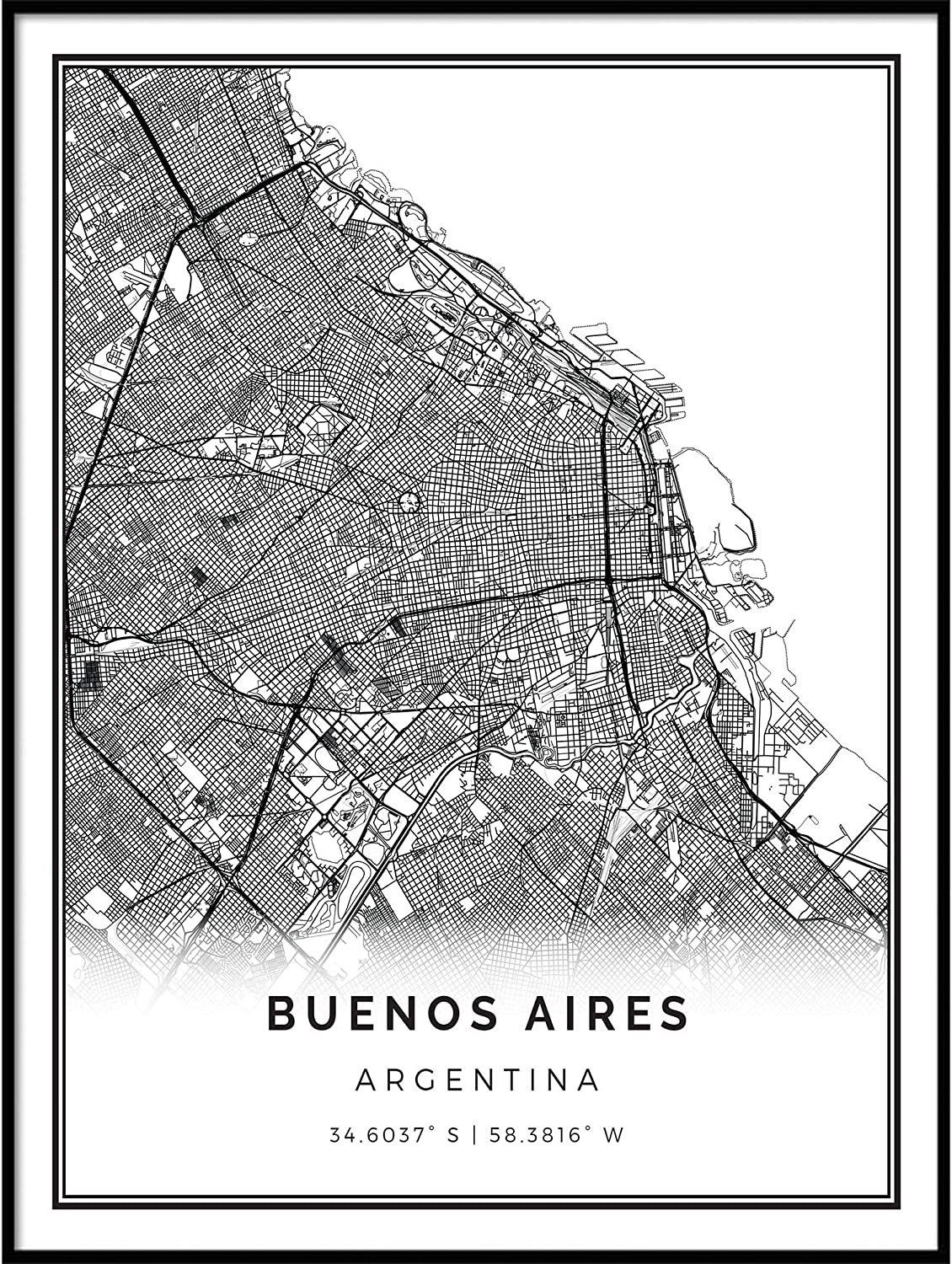 Squareious Buenos Aires map Poster Print | Modern Black and White Wall Art | Scandinavian Home Decor | Argentina City Prints Artwork | Fine Art Posters 16x20