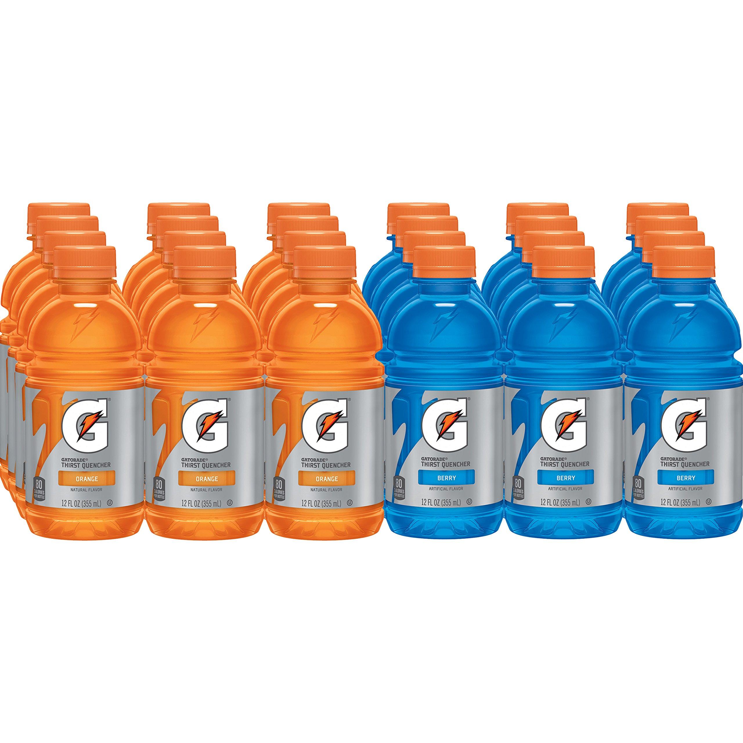 Gatorade Thirst Quencher, Orange and Berry Variety Pack, 12 Fl Oz (Pack of 24)